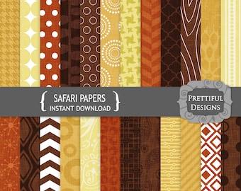 African Safari Digital Paper Digital Scrapbook Papers Geometric Patterns Canvas Texture CU Ok - Safari
