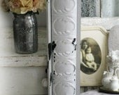 SOLD.... 10 Huge Leaning Mirrors , Ornate White Mirror Tin Shabby Chic