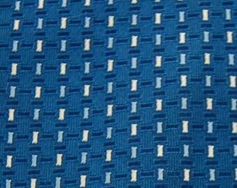 Designer Necktie Giesso Necktie Woven Rectangles Blue Whtie Navy Neck Tie #E