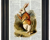 Alice in Wonderland Vintage Dictionary Book Art Print Upcycled Wall Art  Rabbit 8 x 10