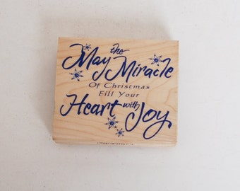 My the Miracle Of Christmas Fill Your Heart with Joy rubber stamp by Inkadinkado