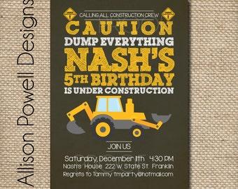 Construction, Dump Truck, Back Hoe, Digger, Crane, Birthday Party Invitation