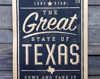 Great State of Texas art print