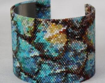 Lizard Scale Peyote Stitch Cuff Bracelet