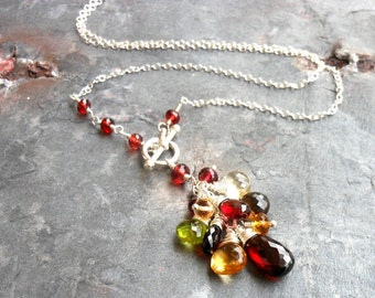 Gemstone Necklace Garnet Multi Stone Sterling Silver Toggle Clasp Front Close, wire wrapped Cluster
