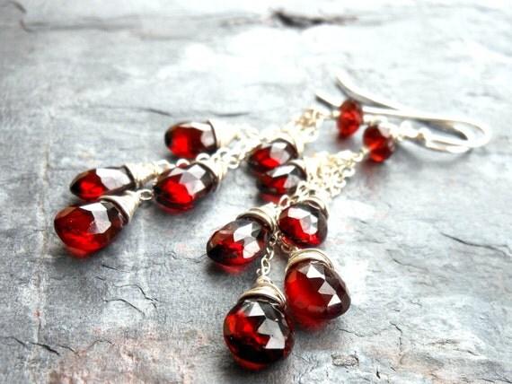 Long Dangling Garnet Earrings Cascade Sterling Silver Red Gemstone Statement Earrings