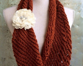 Lacy Infinity Scarf Knitting Pattern - DIY Mothers Day Gift Lacy Cowl Circle Scarf Handmade Knitted WWKIP Day