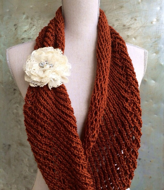 Lacy Infinity Scarf Knitting Pattern DIY Mothers Day Gift