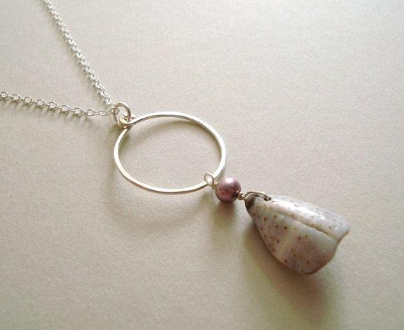 SALE Hawaiian Shell Necklace, Purple Cone Shell, Hammered Silver Hoop Pendant, Hawaiian Jewelry, Boho Beach Necklace:  40% Off