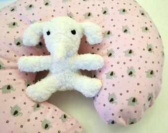 Boppy Nursing Pillow Cover: Grey Elephants on Pink Flannel