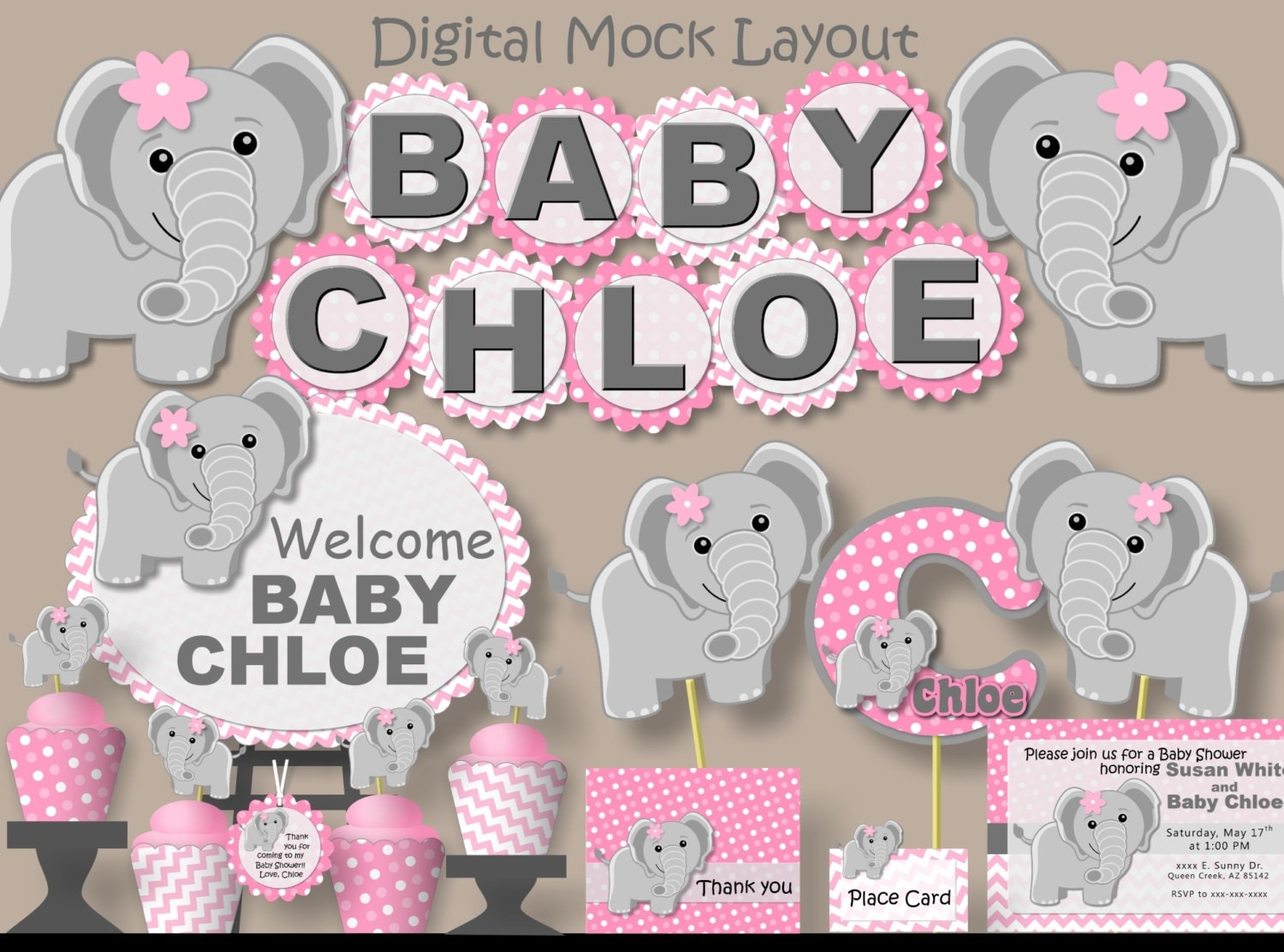pink baby girl elephant baby shower banner or first birthday