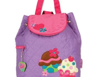 SHIPS NEXT DAY--Personalized Monogrammed Stephen Joseph Quilted Toddler New Purple Cupcake Backpack--Free Monogramming--