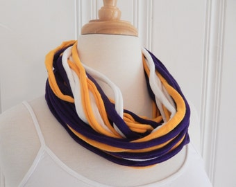 Upcycled Gameday Tshirt Scarf in Gold, White, and Purple - Long