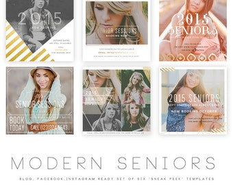 INSTANT DOWNLOAD  Modern Seniors vol 1 Blog, Facebook and Instagram ready Templates