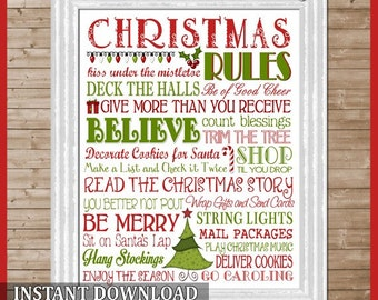 Christmas Rules Subway Art, Holiday Rules - Printable Instant Download