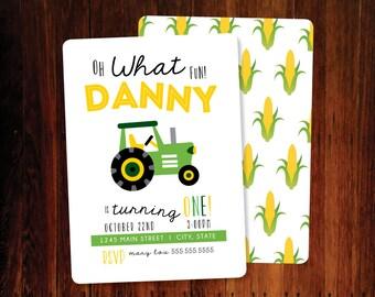 Tractor, Farm invitation - set of 12