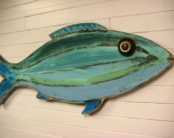 Fish Sign Beach House Weathered Wood Wall Art in Sea Glass Colours by CastawaysHall