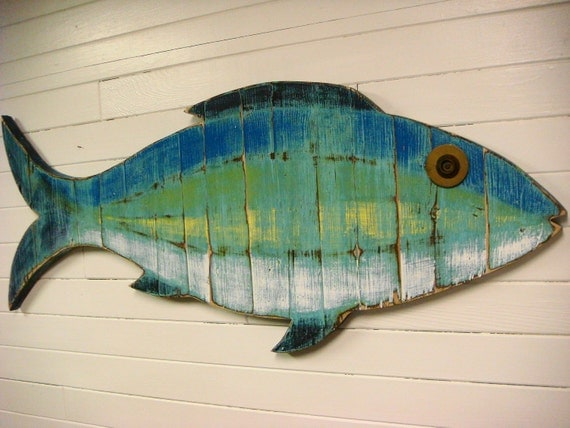 Fish sign beach house weathered wood wall art in sea glass for Fish wall art