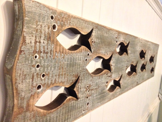 Wood school of fish art sign panel horizontal sea by for Wooden fish wall decor