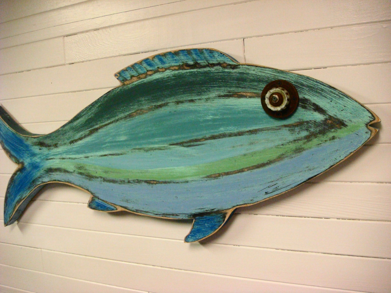 Fish Sign Beach House Weathered Wood Wall Art In Sea Glass
