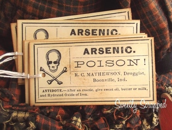 Vintage Druggist Labels.... Arsenic style, Apothecary, Warning, Tags
