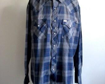 Vintage 1980s Mens Shirt Dark Blue Plaid Rockabilly Country Western Shirt XLarge