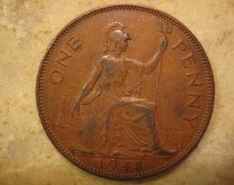 1948 United Kingdom Bronze Coin, One Penny , George VI