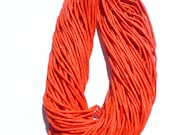 """CORAL beads. MaTTE Finish Heishi Beads. Reconstituted Coral. SuPER SaTurated COlor. 14"""" strand. 2 Strands. 2mm (H-Cor100-2)"""
