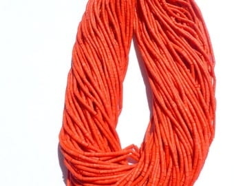 "CORAL beads. MaTTE Finish Heishi Beads. Reconstituted Coral. SuPER SaTurated COlor. 14"" strand. 5 Strands. 2mm (H-Cor100)"