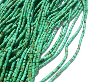 """TURQUOISE beads. MaTTE Finish Heishi Beads. Reconstituted Turquoise. SuPER SaTurated COlor. 14"""" strand. 2 Strands. 2mm (H-Tur300-2)"""