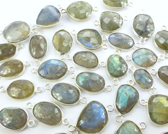LABRADORITE. CoNNEcTOR LiNKS. Natural. SMaLl SiZe. Flat Rose Cut Polki. STERLiNg SiLver. 5 pc. 20.0 cts. 12 to 15 mm (C-Lab2silv)