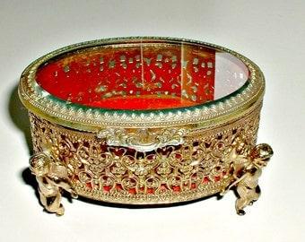 Cherub Jewelry Box Casket Trinket Holder Oval Ornate Vintage