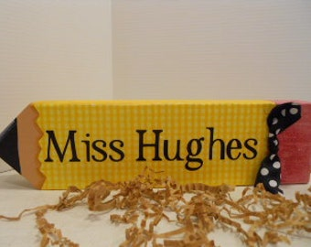 Teacher Personalized PENCIL Name Block, Made To Order