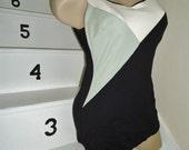 Geometric Black & White Bullet Bra Vintage 1960's MOD Womens Swimsuit S M