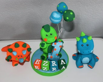 1 Large, 2 Small Custom Dinosaur Cake Toppers for Birthday or Baby Shower