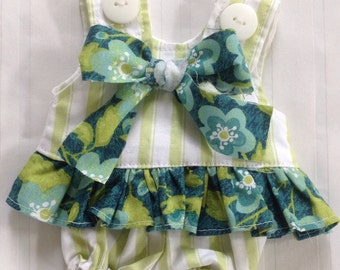 LillieGiggles Green striped play suit brown baby rag doll clothesline