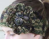 Crochet Flower Headband headwrap boho earwarmer - Adult size - Hunting camo brown green