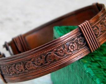 copper cuff floral bracelet, copper cuff bracelet, wide copper cuff bracelet, unisex bracelet, floral vintage bracelet, copper bracelet