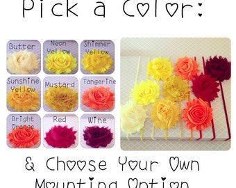 Chiffon Flower Headband: Shabby Chic Frayed Fabric Rose Headband, Choose Your Color & Mounting