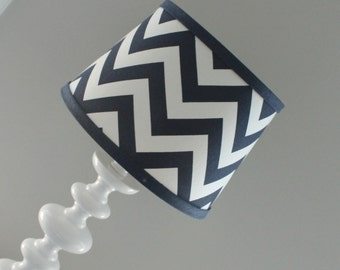Small Navy White Chevron lamp shade with accent Navy blue.