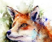 RED FOX Watercolor Print by Dean Crouser