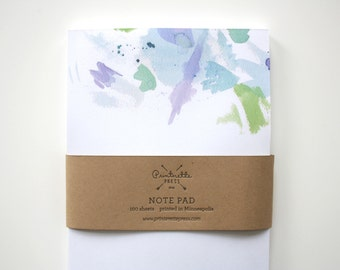 Note pad - To Do List - Blue Watercolor