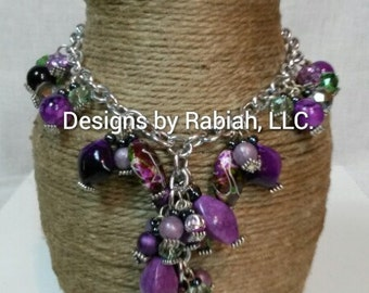 Purple Kisses Charm Necklace for Girls