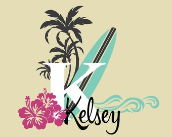Surfer Girl Tropical Wall Stickers - Vintage Surfing Custom Name Decals - with Surfboard, Hibiscus, Palm Trees and Waves - WB206