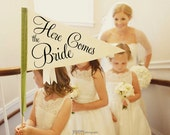 Here Comes The Bride Sign | Made To Order | Large Pennant Flag Wedding Sign For Your Flower Girl