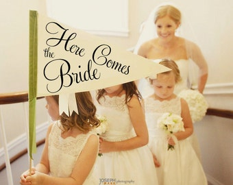 Here Comes The Bride Sign | Made To Order | Large Pennant Flag Wedding Sign For Your Flower Girl | Photo Prop | Classic Script Font 1001
