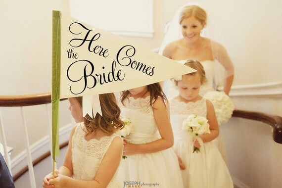 Here Comes The Bride Sign   Made To Order   Large Pennant Flag Wedding Sign For Your Flower Girl   Photo Prop   Classic Script Font 1001