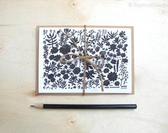 Succulent Garden Notecard Set of 3 - 4x6 Fine Art Blank Card / Black & White Succulent Print, Modern Design Papergoods