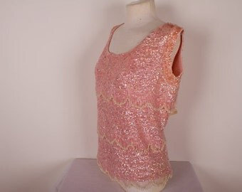 Vintage Sequin and Beaded Tank Top - 1960s Pink - Formal Top
