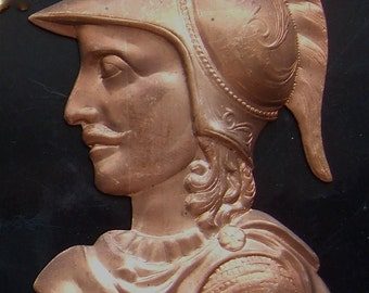 "BWB Interesting and Huge Copper Brass Head Mask Stamping of Roman Greek Warrior 3.5""  OOAK"